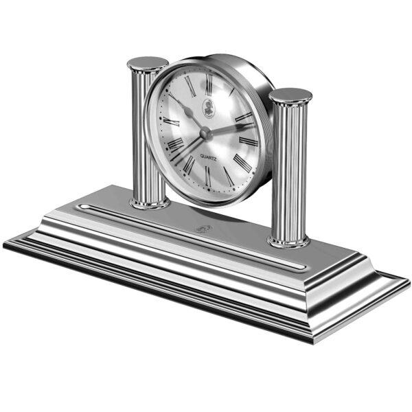 Reloj cromado de sobremesa con portaplumas El Casco